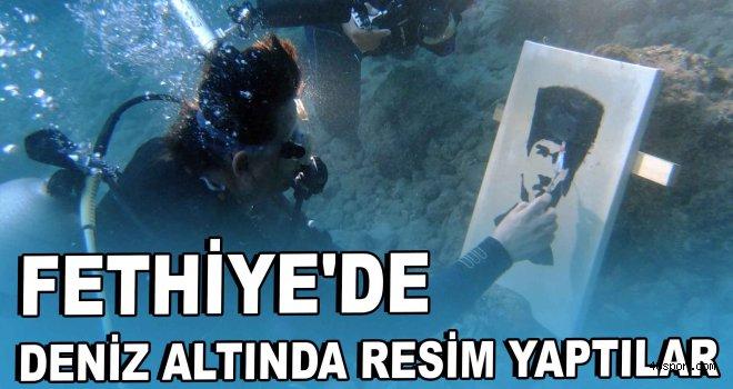 Fethiye'de deniz altında resim yaptılar