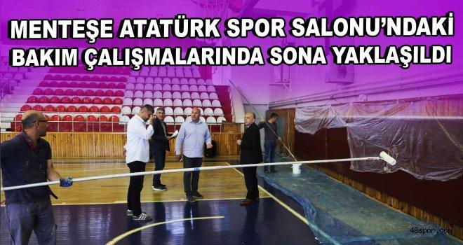 Menteşe Atatürk Spor Salonu'ndaki bakım çalışmalarında sona yaklaşıldı